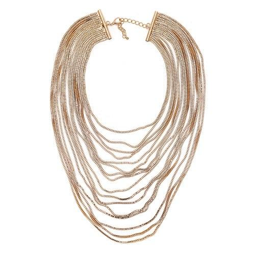 """Adorned"" Long Multi-Layered Gold Chain Necklace"