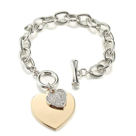2 sets of Gold Heart Charm Chain Bracelet