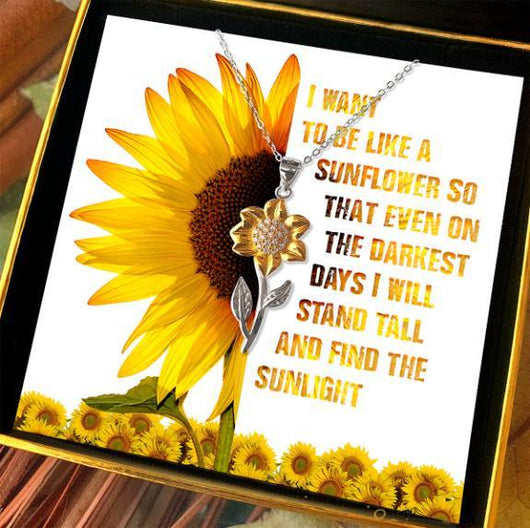 """Find the Sunlight"" Golden Sunflower Necklace Gift Set"