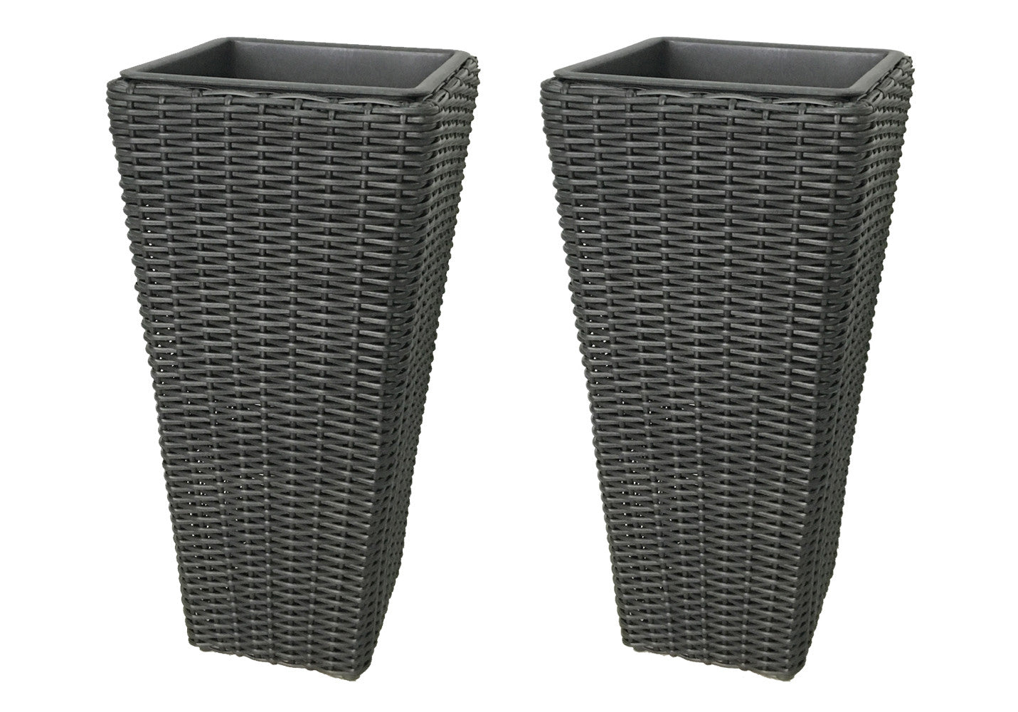 Grapevine large square resin planters 2 pack