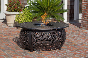 Paramount Angie Oval Aluminum Cast Outdoor Convertible Fire Pit Table