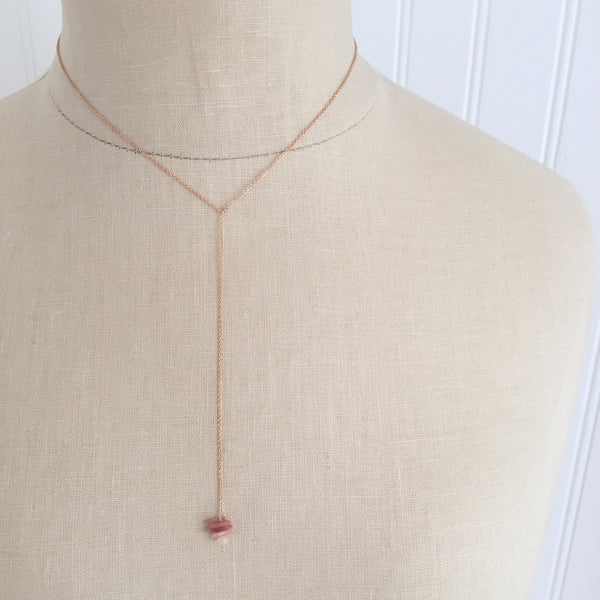 tourmaline + jade lariat necklace