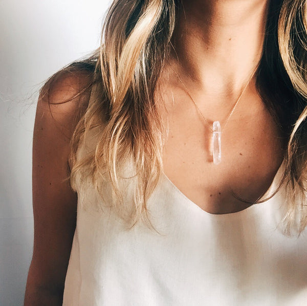 minimalist clear quartz necklace