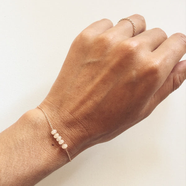 rose gold + jade bracelet