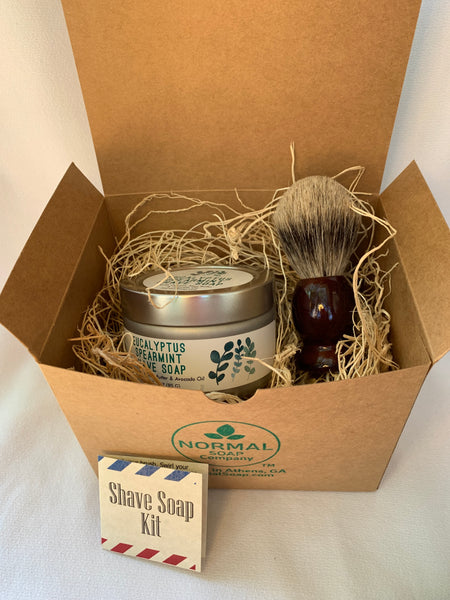 eucalyptus Spearmint Shave Kit with Travel Tin and Badger Brush