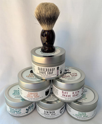Shave Kit w/ Natural Shave Soap, Travel Tin, and Badger Bristle Brush