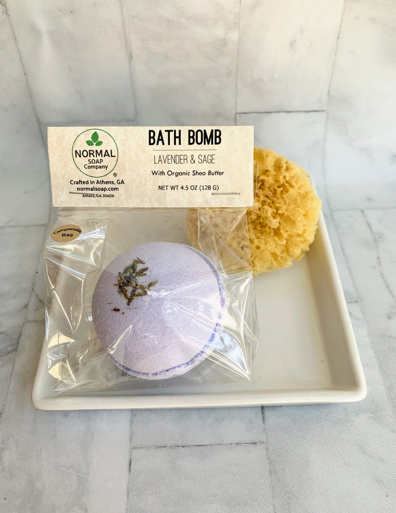 Lavender Sage Bath Bomb 4.5 oz with Organic Shea Butter and essential oils. Compostable packaging