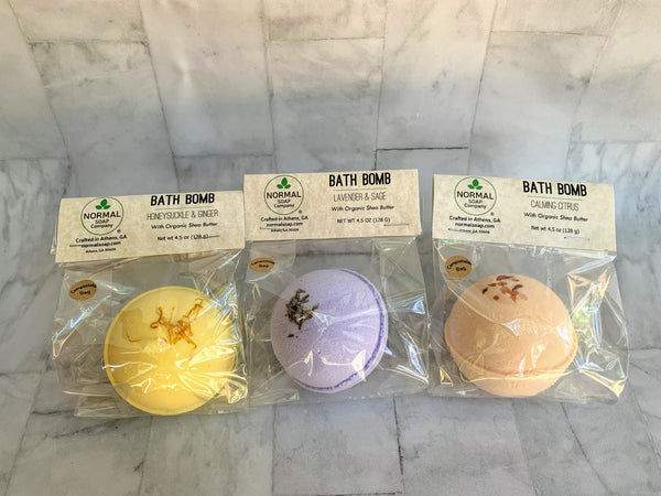 Honeysuckle and Ginger, Lavender Sage and Calming Citrus Trio Bath Bomb with Organic Shea Butter and essential oils. Compostable packaging