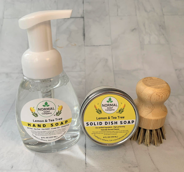 Kitchen Sink Kit - Solid Dish Soap, Liquid Hand Soap and Natural Wood Dish Brush