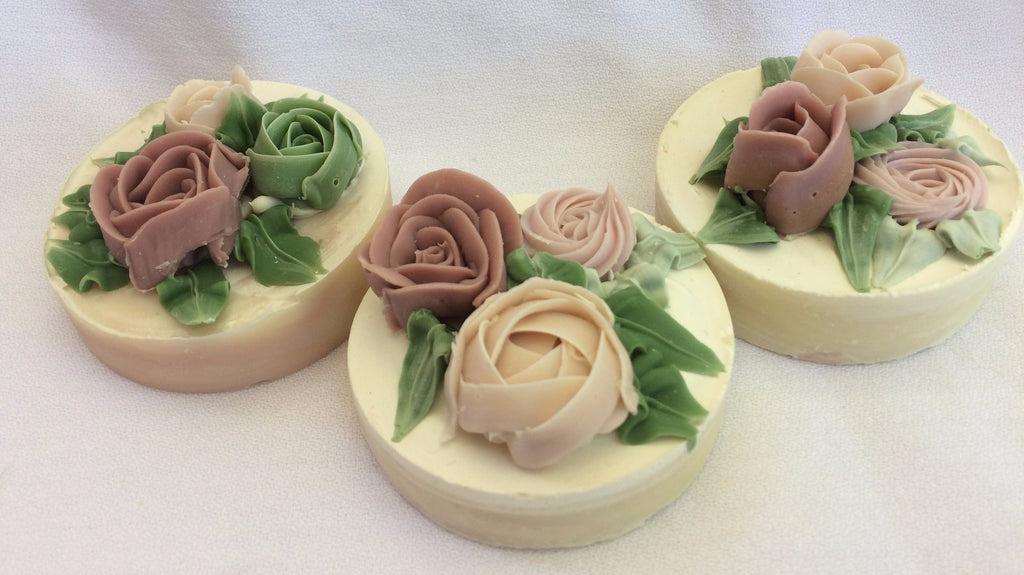 Rose Torte Soap featuring hand piped soap roses
