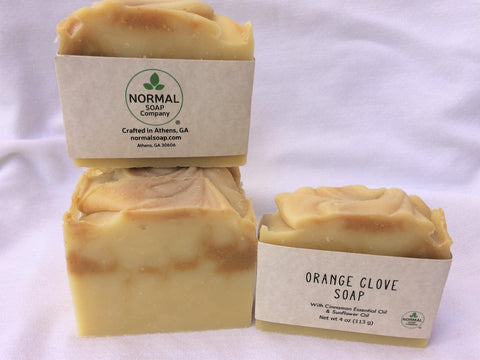 Orange and Clove Handmade Soap with Cinnamon Essential Oil, Rice Bran and Turmeric