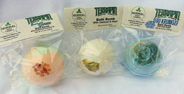 Terrapin Bath Bomb three pack includes one of each: Good to Gose, Luau Krunkles, and Oatmeal and Hops.
