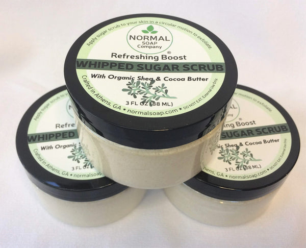 Whipped Sugar Scrub 3 oz featuring Organic Shea and Cocoa Butter