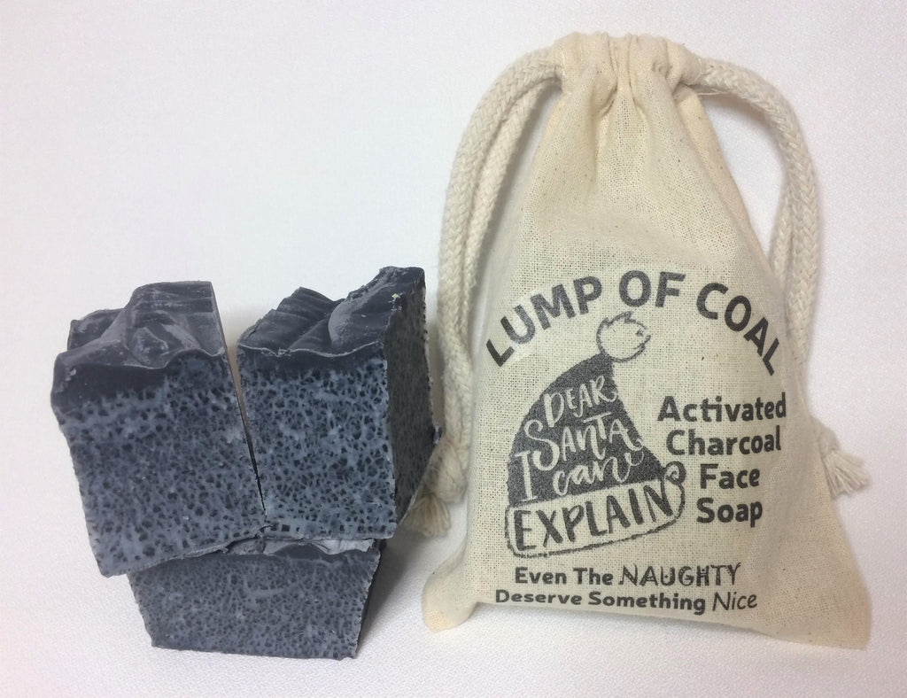 Lump of Coal - Activated Charcoal Face Soap featuring Tea Tree & Geranium Essential Oil; Camellia Seed and Organic Jojoba Oil
