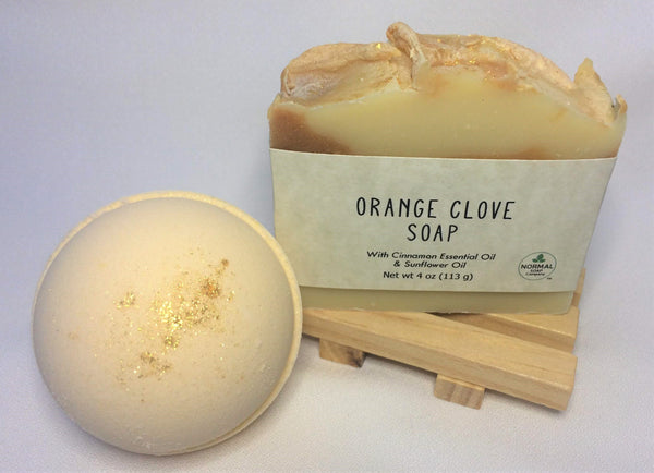 Orange Clove Handcrafted Soap pairs well with Orange Clove Bath Bomb