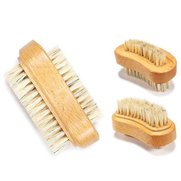 Natural Wood Nail Brush with Boar Bristles; Double Sided
