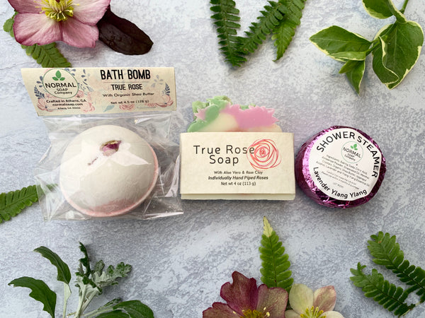 True Rose Bath Bomb, Soap and Relax Shower Steamer makes the perfect gift bundle