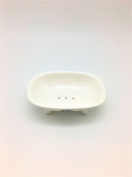 Vintage Claw Foot Ceramic Tub Soap Dish - Le Bain features holes to allow water to drain away