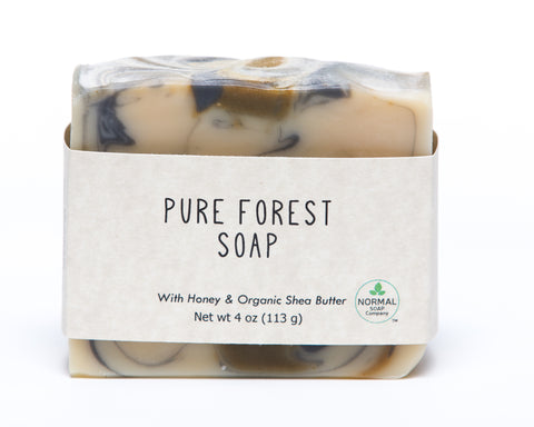 Pure Forest Handcrafted Soap features Fir, Pine, and Cedarwood Essential Oils as well as Organic Shea Butter