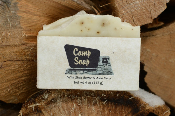 Camp Soap features Lemon Eucalyptus Essential Oil and Shea Butter