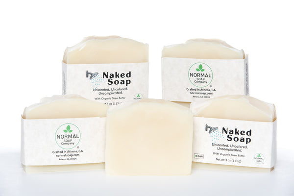 Naked Soap, Uncolored, Unscented, Uncomplicated. Features Organic Shea Butter and Organic Coconut Oil