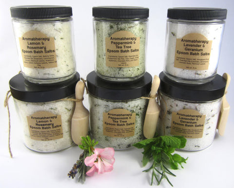 Aromatherapy Epsom Bath Salts in Glass Jar