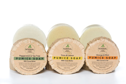 Pumice Soap in three scents: Peppermint Tea Tree, Orange Mint and Yuzu Lemon