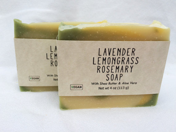 Lavender Lemongrass Rosemary Handmade Soap with Aloe Vera and Shea Butter