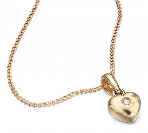 Hallmarked 9ct Yellow Gold and Diamond Children's Heart Pendant with Diamond GP0