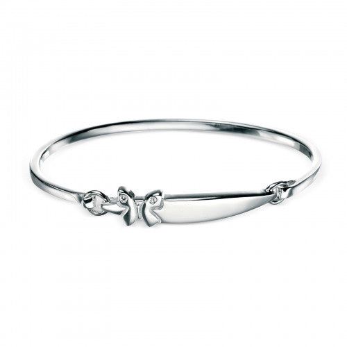 D for Diamond Rhodium Plated Diamond Set Butterfly Motif Hinged Bangle