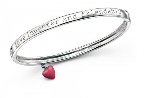 D for Diamond Rhodium Plated Love, Laughter and Friendship Bangle