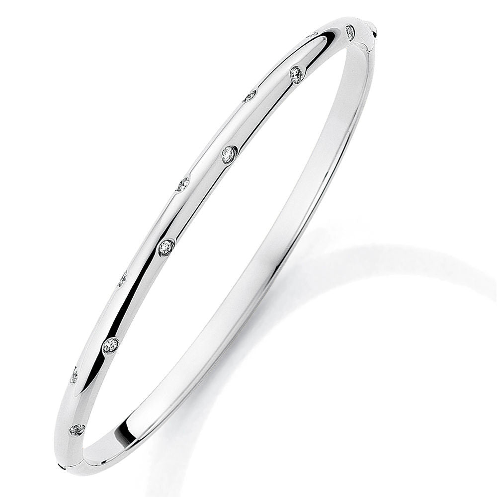 18ct White Gold  Diamond Ladies Bangle