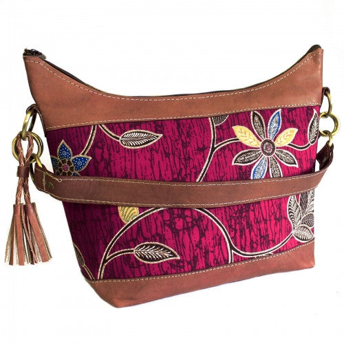 Batik & Leather Bag - Shoulder Bag - Ruby