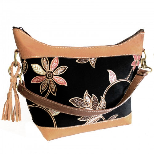 Batik & Leather Bag - Shoulder Bag - Black