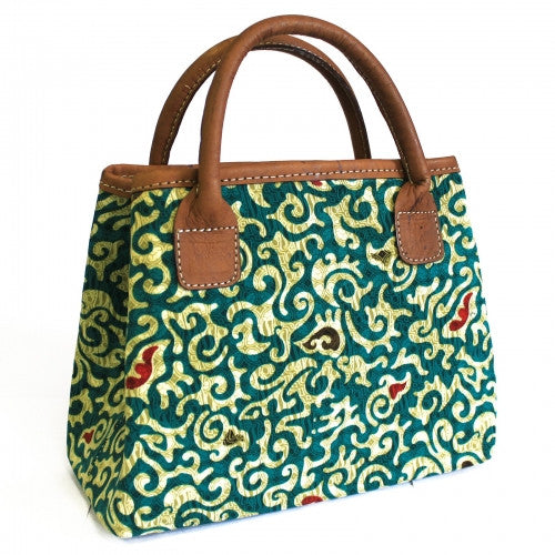 Batik & Leather Bag - City Bag - Teal