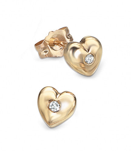 Hallmarked 9ct Gold and Diamond Children's Heart-Shaped Stud with Diamond