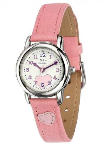 D for Diamond Girls Pale Pink Leather Strap Watch Z783