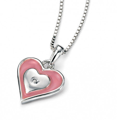 D for Diamond Rhodium Plated Pink Heart Pendant & Chain P4107
