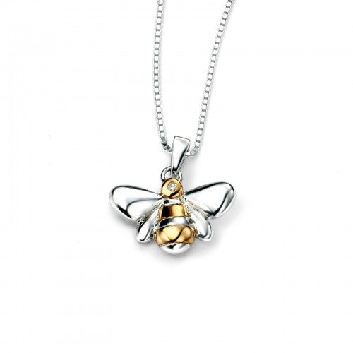 D for Diamond Rhodium Plated Bee Pendant with Gold Plating Detail & Chain P4097