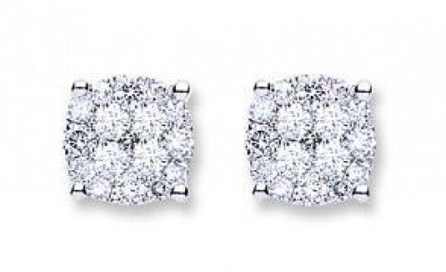 18ct White Gold 0.50ct Cluster Diamond Studs