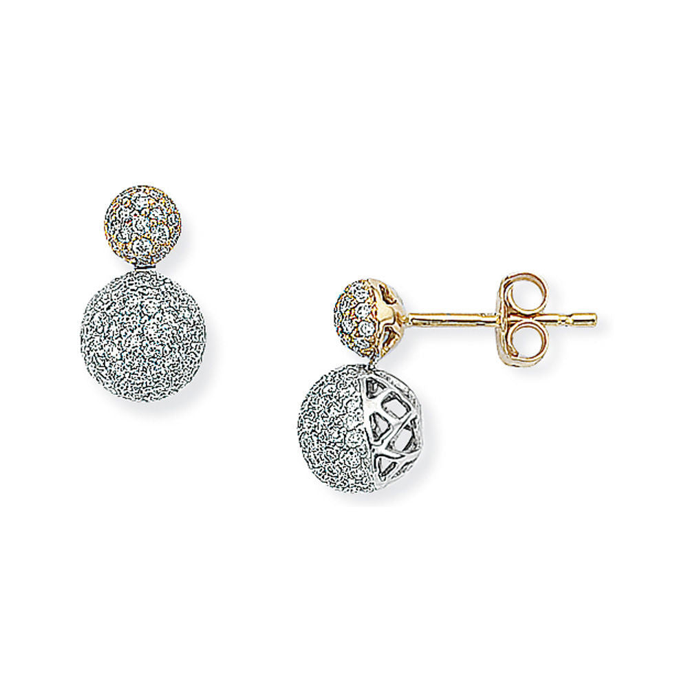 18ct White and Yellow Gold - Diamond - Stud Earrings