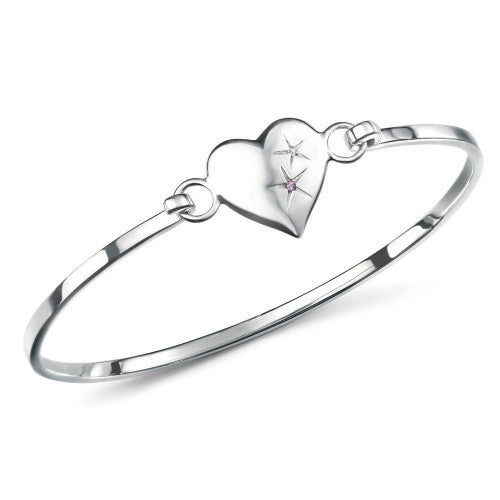 Girls Heart Bangle with Amethyst in Sterling Silver by D For Diamond