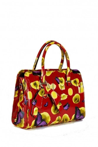 BUTTERFLY AND POPPY DESIGN PATENT HANDBAG IN RED