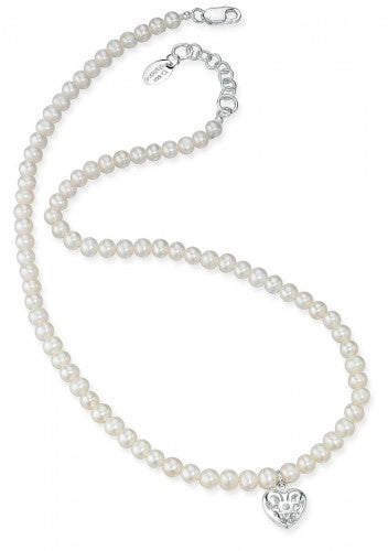 D for Diamond Freshwater Pearl Necklace With Filigree Heart Locket - N2370W