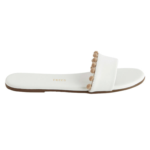 White Leather Slide Sandals with Small Brown Pom Poms