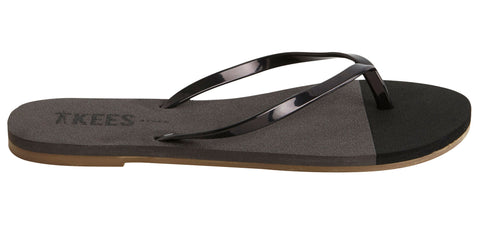 Waterproof Flip Flops with Black Rubber Upper, Gray and Black EVA Foam Insole, Brown Rubber Outsole