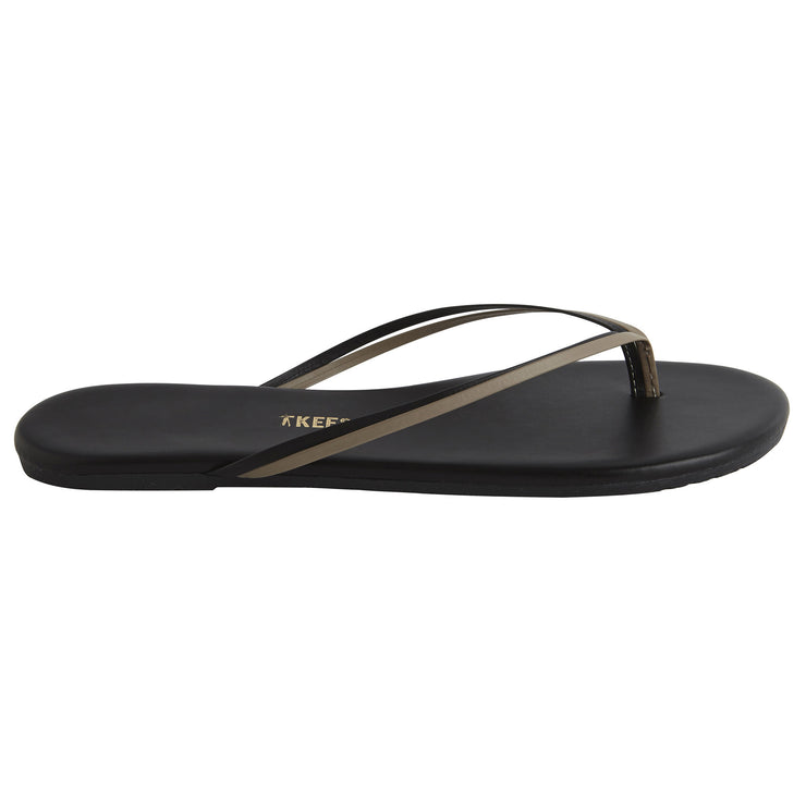 Classic Black Leather Flip Flop with Two-Strap Black and Brown Cowhide Leather Upper, Cowhide Leather Insole, Rubber Outsole