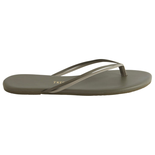 Classic Grey Leather Flip Flop with Two-Strap Cowhide Leather Upper, Cowhide Leather Insole, Rubber Outsole