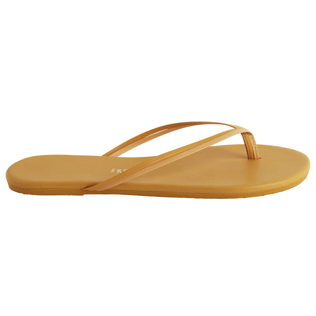 Classic Yellow Leather Flip Flop with Two-Strap Cowhide Leather Upper, Cowhide Leather Insole, Rubber Outsole