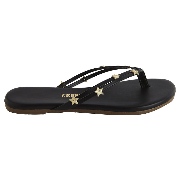 Kids TKEES Black Flip Flops with Gold Star Embellished Straps